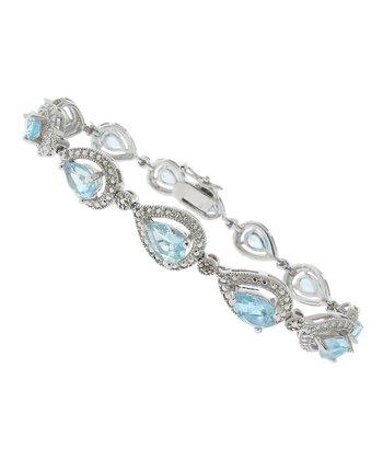 Blue Topaz & Diamond Teardrop Link Bracelet