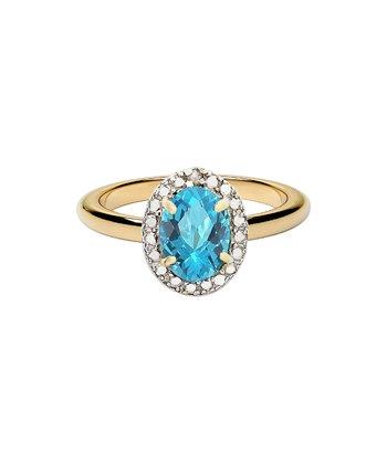 Blue Topaz & Gold Oval Ring