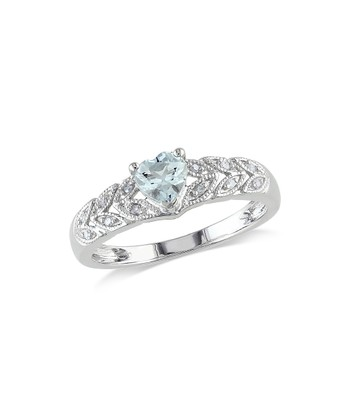 Sterling Silver & Aquamarine Heart Ring