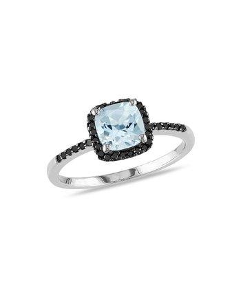 Black Diamond & Aquamarine Cushion Ring
