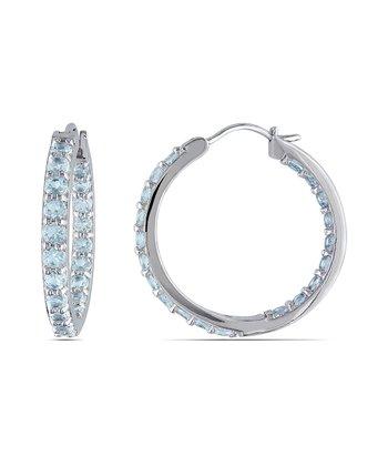 Aquamarine & Sterling Silver Studded Hoop Earrings