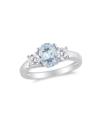 White Sapphire & Aquamarine Triple Stone Ring