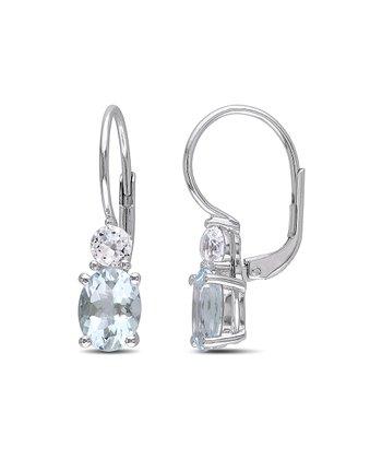 White Sapphire & Aquamarine Lever-Back Earrings