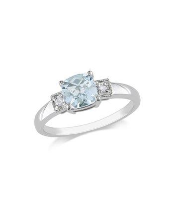 Diamond & Aquamarine Triple Stone Ring