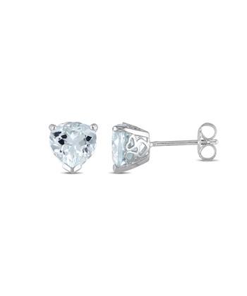 Aquamarine & Sterling Silver Triangle Stud Earrings