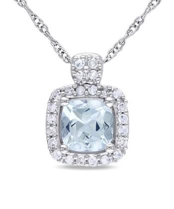 Diamond & Aquamarine Cushion Pendant Necklace