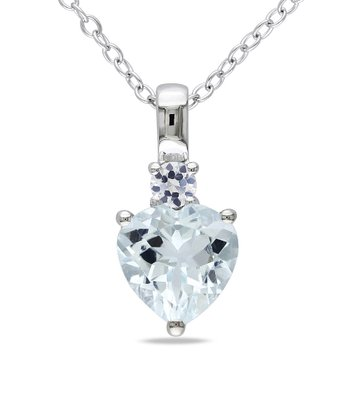 White Sapphire & Aquamarine Heart Pendant Necklace