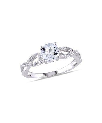 Diamond & Aquamarine Twist Ring