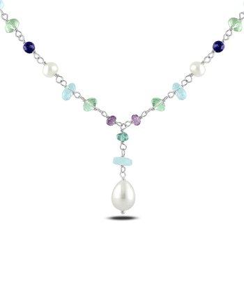 Aquamarine & Pearl Drop Pendant Necklace