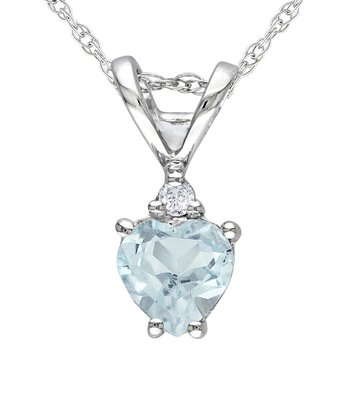 Aquamarine & Diamond Heart Pendant Necklace