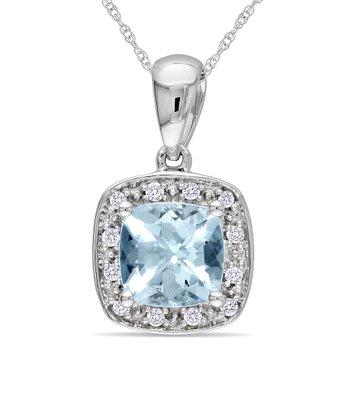 Diamond & Aquamarine Dazzle Pendant Necklace