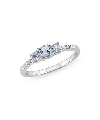 Diamond & Aquamarine Graduated Ring