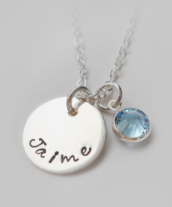 The Sassy Apple Light Aqua & Sterling Silver Personalized Pendant Necklace