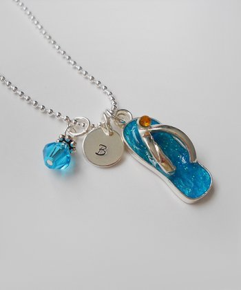 The Sassy Apple Turquoise & Sterling Silver Flip-Flop Initial Pendant Necklace