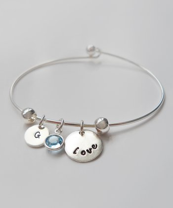 The Sassy Apple Light Aqua & Sterling Silver 'Love' Initial Bracelet
