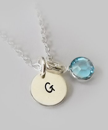 The Sassy Apple Light Aqua & Sterling Silver Initial Pendant Necklace