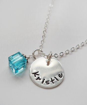 The Sassy Apple Light Aqua & Sterling Silver Cube Personalized Pendant Necklace