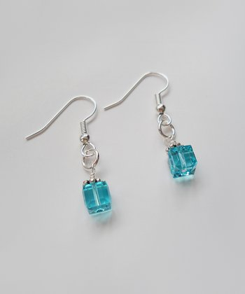 The Sassy Apple Light Turquoise Crystal & Sterling Silver Drop Earrings