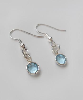 The Sassy Apple Light Aqua Crystal & Sterling Silver Drop Earrings