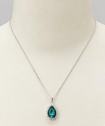 Crystal & Blue Sapphire Teardrop Pendant Necklace