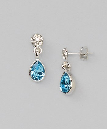 Blue Crystal & White Gold Drop Earrings