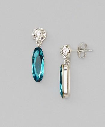 Blue & White Crystal Drop Earrings