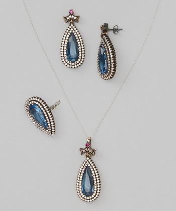 Cobalt & Silver Pendant Necklace Set