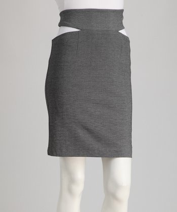 Gray Cutout Skirt