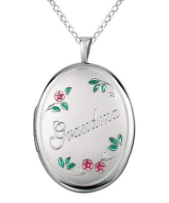 World Trade Jewelers Silver & Pink Floral 'Grandma' Oval Locket