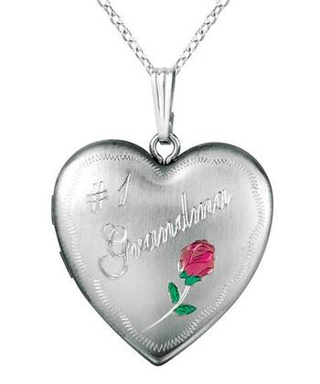 World Trade Jewelers Silver & Pink Floral '#1 Grandma' Heart Locket