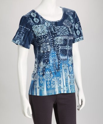 Blue Embellished Short-Sleeve Top