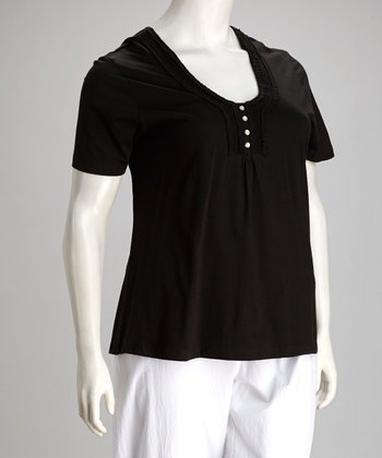 Black Plus-Size Henley