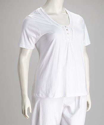 White Plus-Size Henley