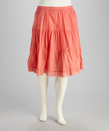 Coral Plus-Size Peasant Skirt