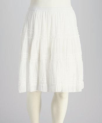 White Plus-Size Peasant Skirt