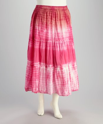 Pink & White Tie-Dye Plus-Size Peasant Skirt