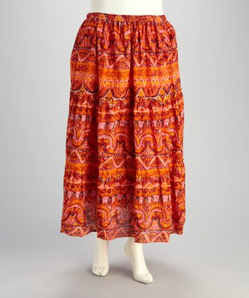 Red & Coral Plus-Size Peasant Skirt