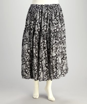 Black & White Floral Plus-Size Peasant Skirt