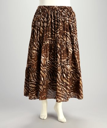 Brown & Natural Zebra Plus-Size Peasant Skirt