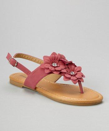 Fuchsia Rhinestone Flower Sandal