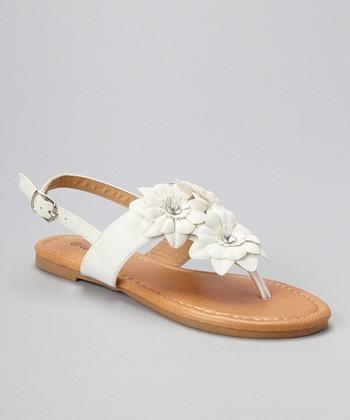 White Rhinestone Flower Sandal