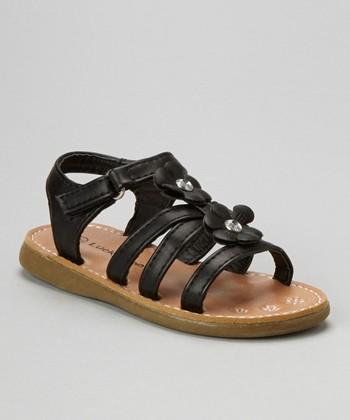 Black Rhinestone Flower Strappy Sandal