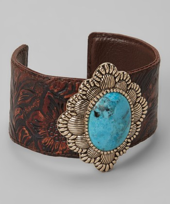 Turquoise & Leather Cuff
