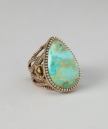 Turquoise & Bronze Framed Ring
