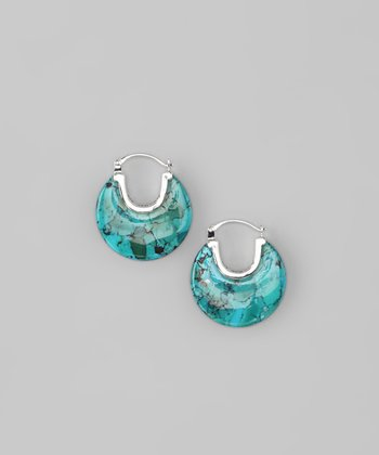 Sterling Silver & Turquoise Hoop Earrings