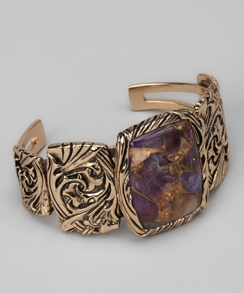 Bronze & Amethyst Scroll Cuff