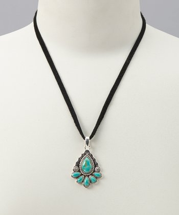 Turquoise & Leather Pendant Necklace
