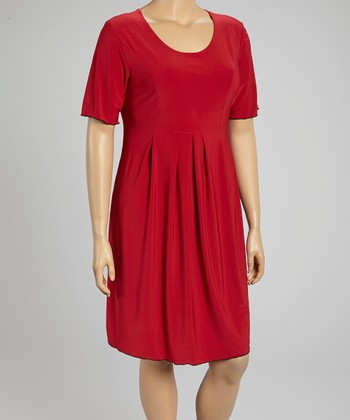 Red Pleated Scoop Neck Dress - Plus