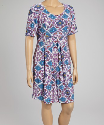 Purple Diamond Scoop Neck Dress - Plus