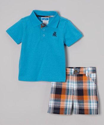 Weeplay Kids Teal & Orange Plaid Polo & Shorts - Infant & Toddler